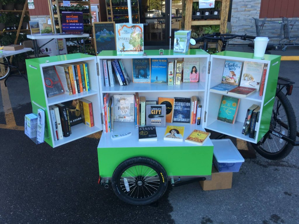 The Teton County Library's new book bike, open for business.