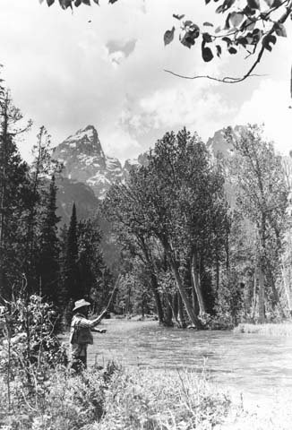 Gov. Stan Hathaway fishing in Grand Teton National Park. Photo from Wyoming State Archives.